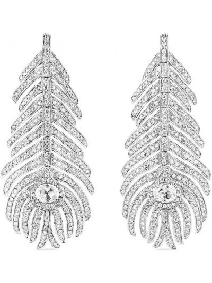 Białe złote kolczyki sztyfty z diamentem Boucheron