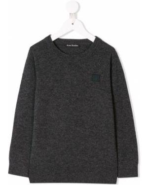 Sweter wełniany z haftem z długimi rękawami Acne Studios Kids