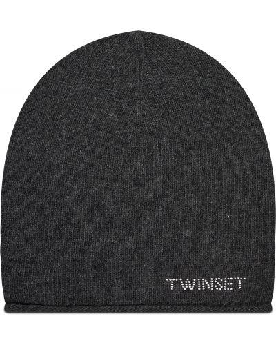 Szara z kaszmiru czapka Twinset