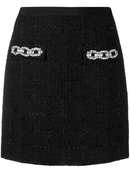 Czarny prosto z wysokim stanem bawełna spódnica mini Blumarine