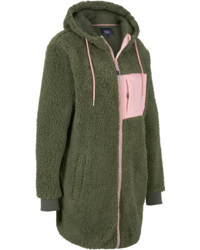 Плюшевая зеленая куртка с карманами Bonprix