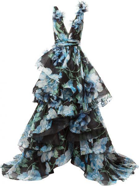 Шелковое черное платье с V-образным вырезом Marchesa