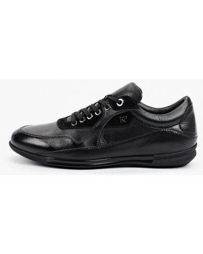 Кожаные черные низкие кроссовки Roberto Piraloff
