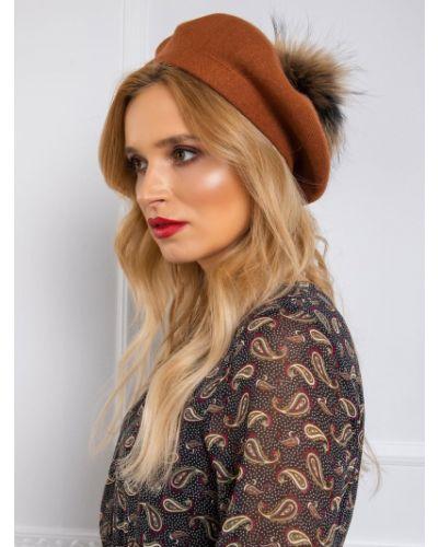 Brązowy beret materiałowy Fashionhunters