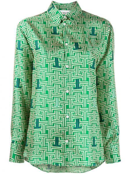 Зеленая шелковая рубашка с воротником Lanvin