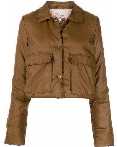 Коричневая короткая куртка с воротником с карманами Baum Und Pferdgarten
