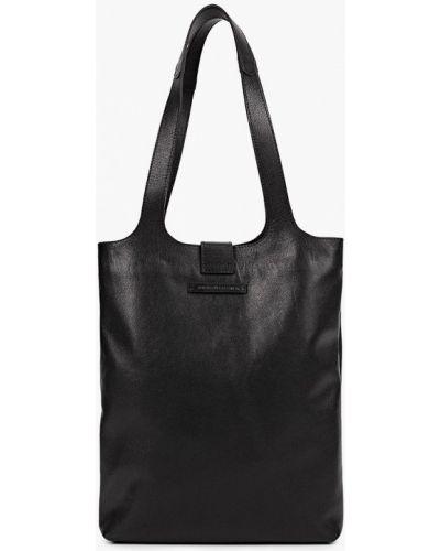 Кожаная черная сумка шоппер Asya Malbershtein