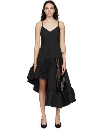 Czarny bawełna bawełna długo sukienka bez rękawów Marques Almeida