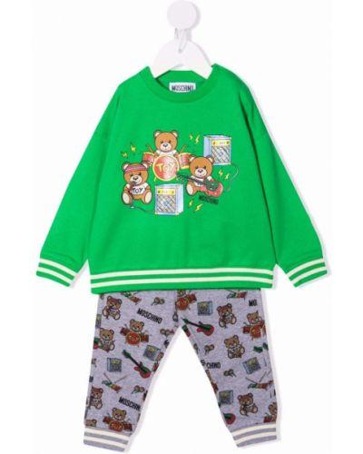Zielony dres z printem Moschino Kids