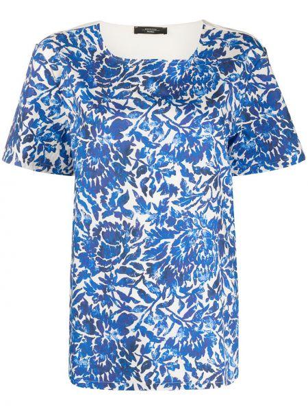 Синий футбольный топ свободного кроя с круглым вырезом Weekend Max Mara