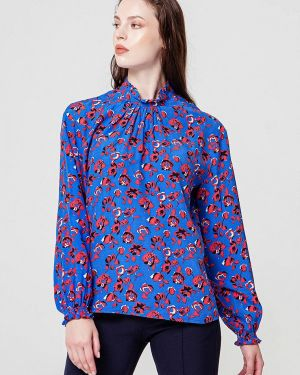 Блузка с длинным рукавом синяя осенняя Bgn