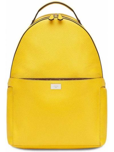 Żółty plecak skórzany Fendi