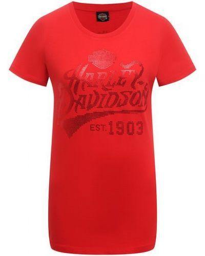 Хлопковая красная футболка Harley Davidson