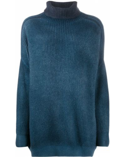 Шерстяной синий джемпер свободного кроя в рубчик Avant Toi