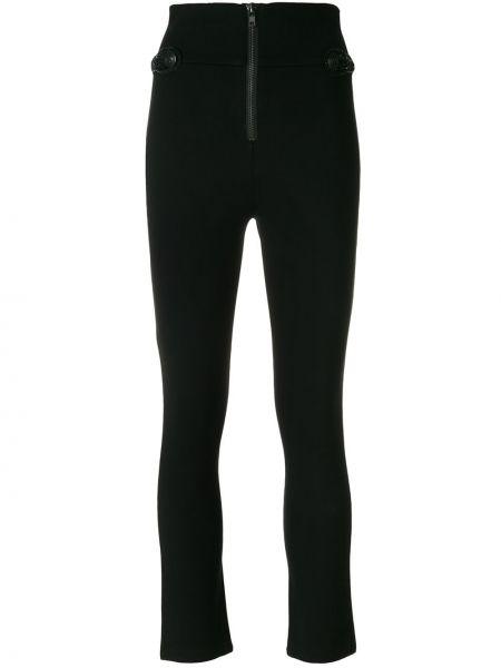 Нейлоновые черные брюки узкого кроя на молнии Pierre Balmain
