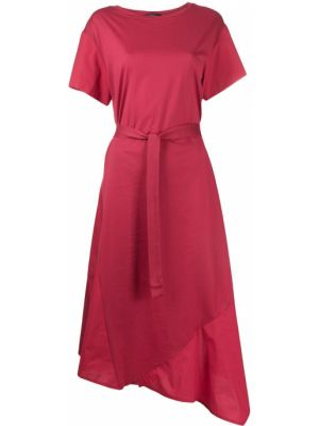 Красное асимметричное платье миди с вырезом с короткими рукавами Weekend Max Mara