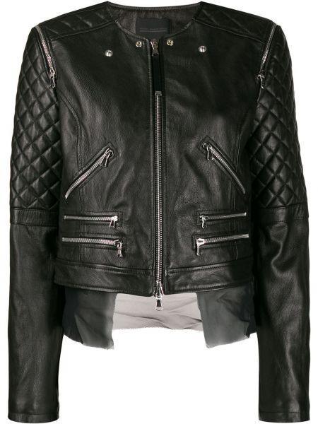 Кожаная куртка на молнии - черная Diesel Black Gold