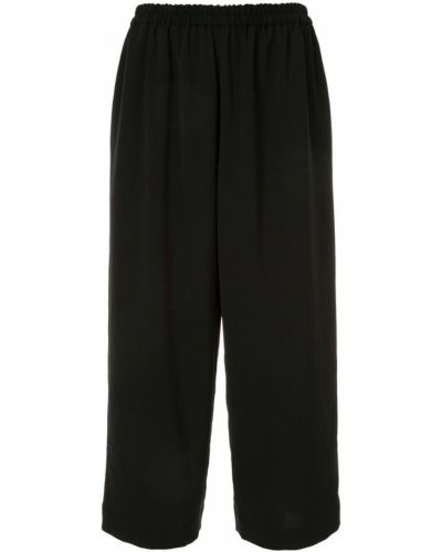Черные прямые укороченные брюки с воротником с поясом Knott