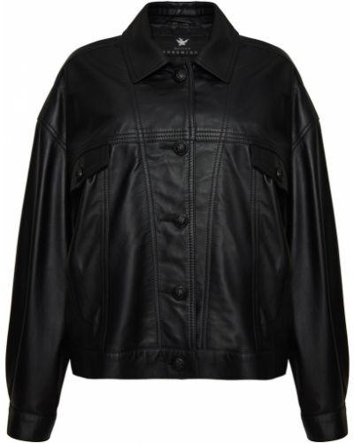 Черная кожаная куртка оверсайз Maison Bohemique