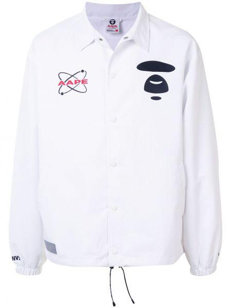 С рукавами белая рубашка с воротником Aape By A Bathing Ape