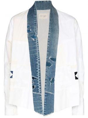 Biała koszula jeansowa bawełniana z długimi rękawami Greg Lauren
