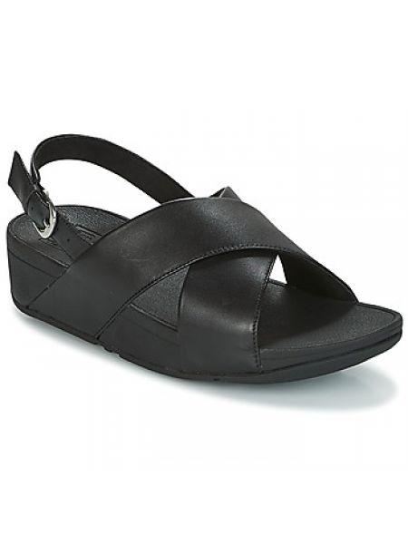 Czarne sandały skorzane Fitflop