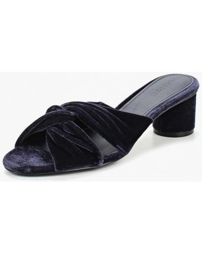 Синие сабо на каблуке Mango