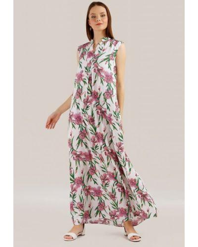 Свободное платье макси в цветочный принт с вырезом Finn Flare