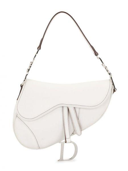 Skórzany srebro z paskiem torba kosmetyczna z łatami Christian Dior