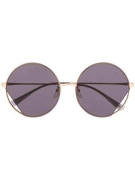 Прямые солнцезащитные очки круглые металлические хаки Moschino Eyewear