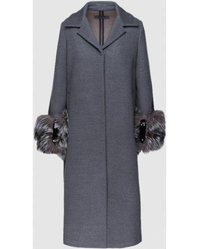 Серое пальто с мехом Simonetta Ravizza