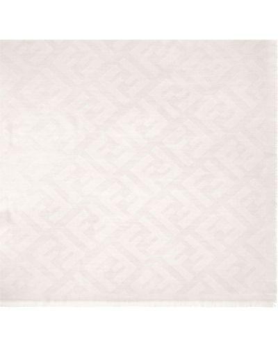 Biała z kaszmiru szal Fendi