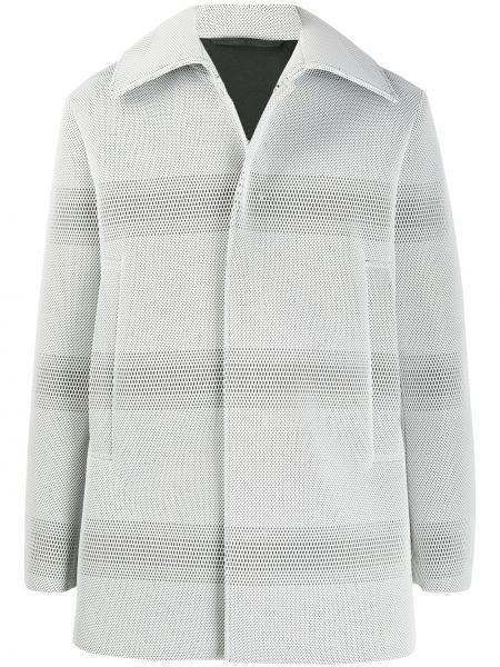 Классическое прямое белое длинное пальто с воротником Namacheko