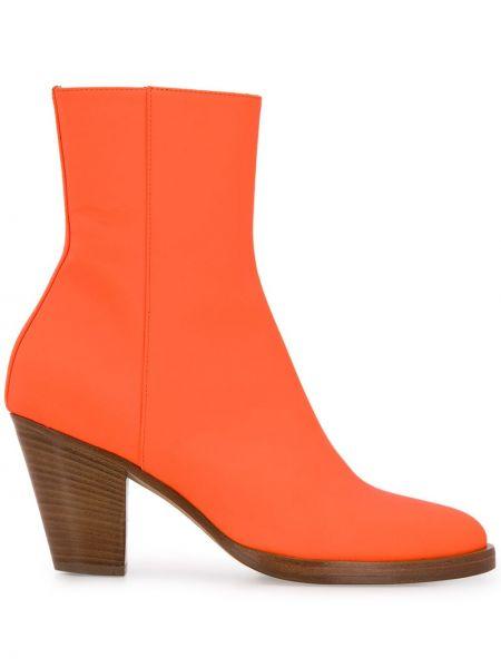 Кожаные оранжевые ботинки на каблуке на каблуке на молнии A.f.vandevorst