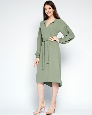 Свободное летнее платье с длинными рукавами свободного кроя с вырезом Fiato