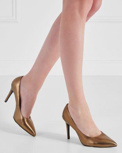 Кожаные туфли-лодочки золотые Chapurin