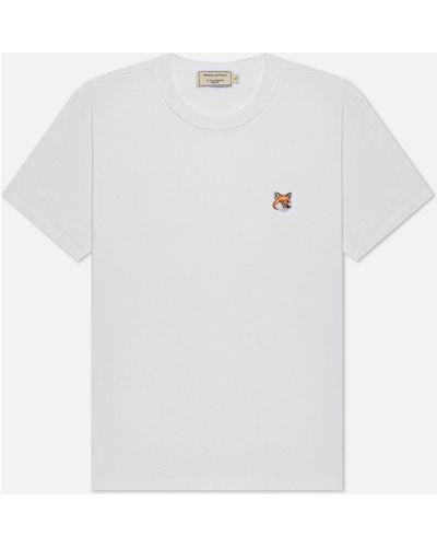Хлопковая белая футболка с воротником Maison Kitsuné