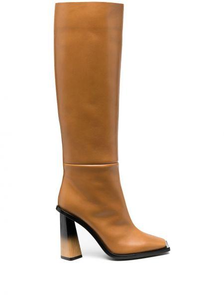 Skórzany buty na wysokości w połowie kolana na pięcie plac Givenchy