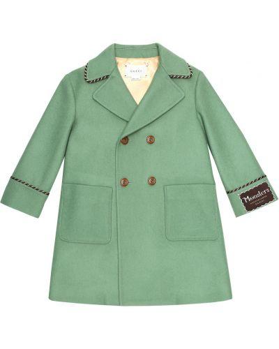 Zielony wełniany płaszcz dwurzędowy Gucci Kids