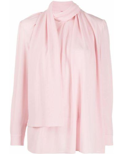 Розовая шелковая блузка с манжетами Alexander Mcqueen
