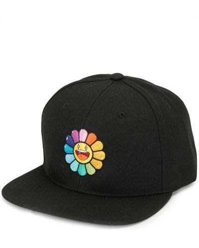 Czarny czapka z daszkiem z haftem Takashi Murakami