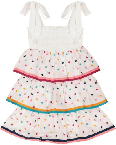 Biały bawełna bawełna sukienka mini z haftem Zimmermann Kids
