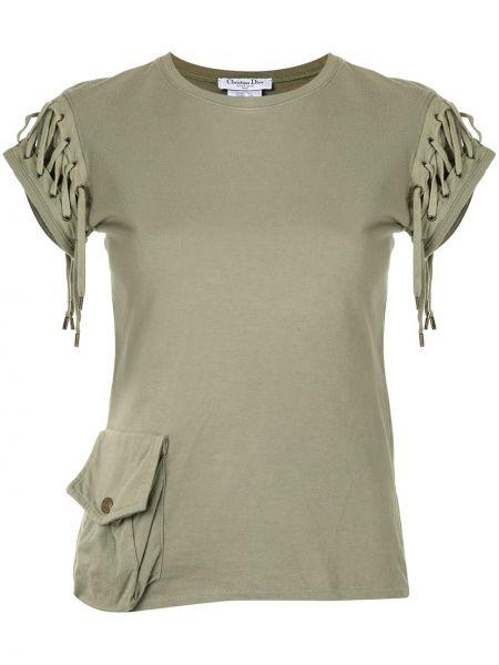 Zielony t-shirt bawełniany koronkowy Christian Dior