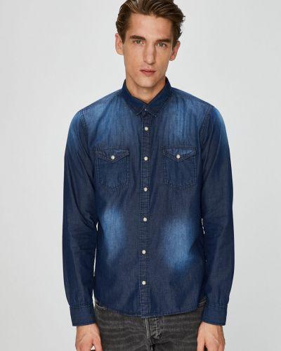Джинсовая рубашка с длинным рукавом однотонная Brave Soul