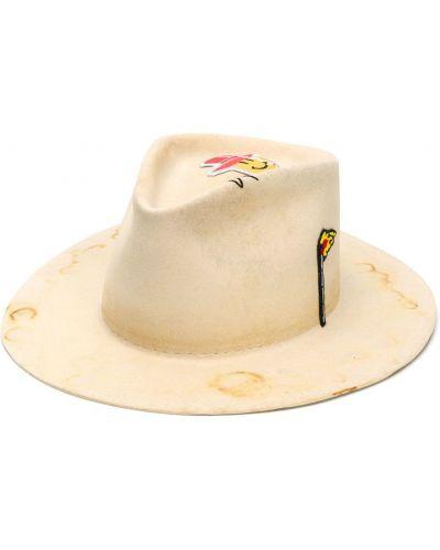 Бежевая фетровая шляпа с широкими полями свободного кроя Nick Fouquet