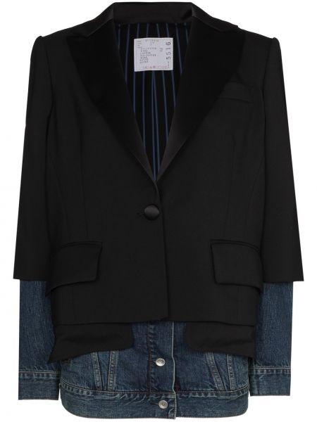 Однобортный черный удлиненный пиджак с карманами Sacai