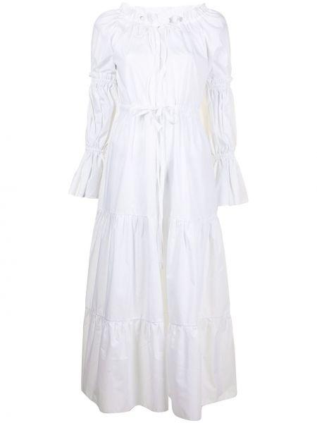 Ватное хлопковое белое платье макси Bambah
