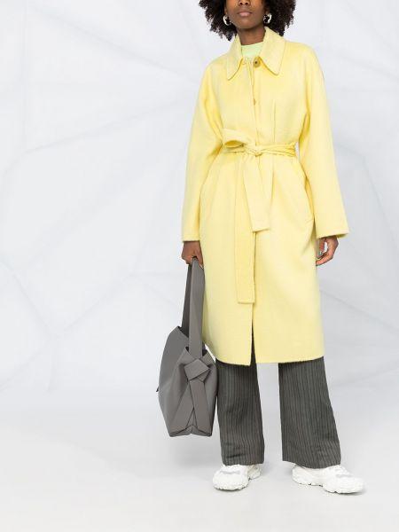 Желтое пальто классическое из альпаки с воротником Acne Studios
