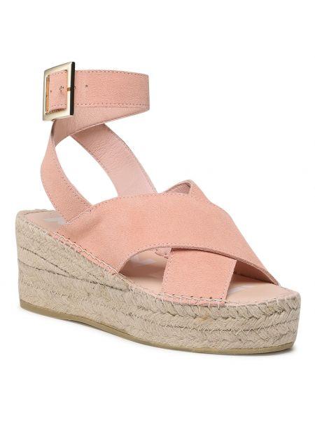 Różowe sandały z paskiem Manebi