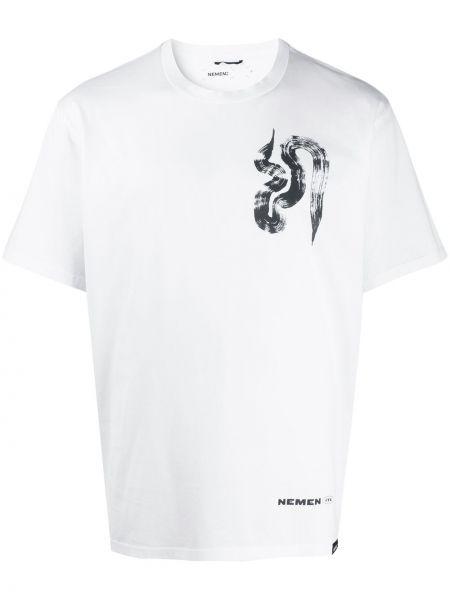 С рукавами белая хлопковая футболка с круглым вырезом Nemen